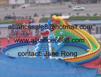 dragon shark inflatable water slide with swimming pool
