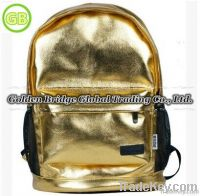 2014 Fashion Personality Gold Male or Female Backpack School Bag
