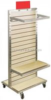 Flooring Slatwall Wood Movable Baby Clothes Display Stand