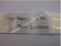 Beautiful pattern gold stamp printed satin ribbon