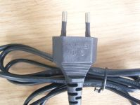 EU 2 pin black power cord black colour