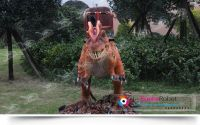 Outdoor amusement park kid rides robotic dinosaur