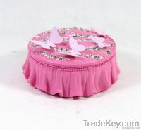 Polyresin Butterfly Jewelry Box Round, Pink Color Jewelry Case