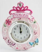 Polyresin Table Alarm Clock with Butterfly