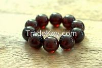 "Baltic amber bracelet ""CHERRY"" super quality pressed beads 26mm!!! weight 99g"