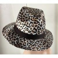 Brown Fedora style Leopard Print Hat