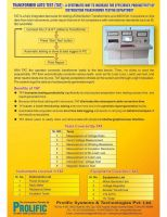 Introduction of Intelligent Transformer  testing and Reporting  system for Transformer Auto test, CT/ PT Auto Test, Shunt Reactor Auto Test and Motor Auto Test Systems