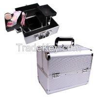 Aluminium beauty box with silvery strong handle RZ-LCO158-1