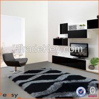 Designed shaggy polyester pile in black silver carpet