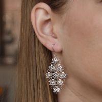 925 Sterling Silver Flower Drop Earring