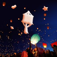 New safe sky lanterns effect paper lanterns night