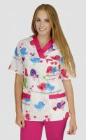 Medical print scrub tops