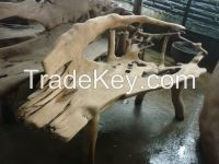 woodcraft and teak wood rustic bench