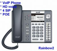 ATCOM Rainbow2 grayscale LCD 4 SIP IP phone HD voice quality validated by Elastix and Broadsoft PoE technology Optional WiFi