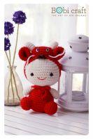 Fire Dragon (Handmade gift, amigurumi plush toys, knitted crochet toys)