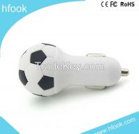 Football Car Charger meet CE,ROHS FCC OEM orders accepted one put out 5V 2.1A mini usb car charger