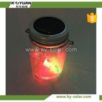 2017 New Design Color Glass Jar garden solar jar light