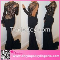 sexy high quality Black Mermaid Prom lady fashion dress