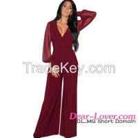 wholesale fashion long mesh sleeves ladies jumpsuit