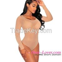 wholesale sexy long sleeve sheer mesh bodysuit lingerie set