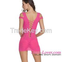 sexy crotchet mesh transparent night chemise dress
