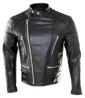 New Men Biker Style Leather Fashion Jacket Genuine cowhide leather