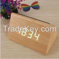 Bamboo Wood Triangular Green LED Alarm Digital Desk Clock