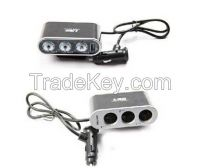 Car Cigarette Lighter Socket Splitter 12V/24V +USB+LED Light Switch