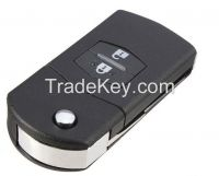 2 Button Remote Key Fob Shell Case Folding Flip With Uncut Blade