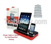 Ipega White Dual Docking Station Charger Adapter and Speaker Stand
