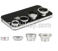 Silver Wide+Macro+180 Degree Fish Eye+2x Lens+12x Zoom Kit Camera
