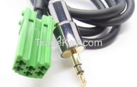 AUX 3.5mm Gold INPUT Cable Adaptor For RENAULT CLIO to Connect