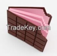 Chocolate color smell lovely shape silicone memo pad(LH-2547)
