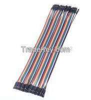 40pcs in Row Cable 20cm 2.54mm 1pin 1p-1p Female to Male jumper wire f