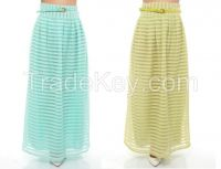 maxi long skirts for ladies with belt