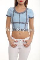 ladies summmer short sleeve blouses made in Turkey