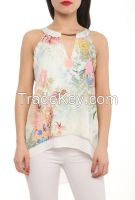 sleeveless blouses with flower prints made in Tureky