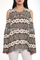 summer loose long sleeve blouses and tops with colorful prints made in Turkey