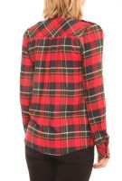 Women Casual Plaid Shirts with Beaded Pockets