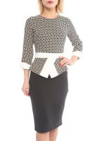 Office Style 3/4 Sleeve Knee Length Ladies Dresses