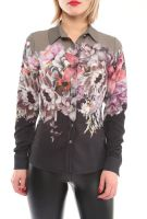 Floral Print Long Sleeve Women Shirts Made in Turkey