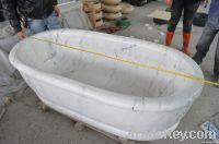 Guangxi white marble freestanding bathtub