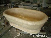 Sunny beige marble stone bathtub
