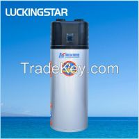 Top discharge all in one heat pump water heater with centrifugal fan