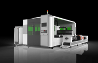 GZ1530CG1 Fiber Laser Cutting Machine with housing and exchange table for both tube and plate cutting