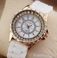 fashion crystal silicon watch