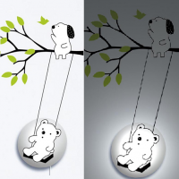26R016 Bear on the Swing Cartoon Children Wall Lamps