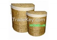 Vietnam crafts Water Hyacinth Laundry Hampers Storage Baskets s/2