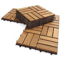 Outdoor deck tiles, garden solid teak wood flooring with plastic base, natural