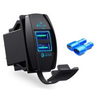 Universal Dual 2 Port USB QC 3.0 Car Fast Charger Power Socket Blue Green Red LED Light 12v 24v for iPhone Samsung LG Android Phone